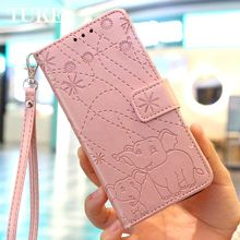 Flip Leather Book Phone Case For LG G7 LGG7 Back Cover Case For LG ThinQ Funda Fireworks Elephant Texture(China)