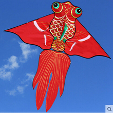 Free Shipping Outdoor Fun Sports 2m Power Gold Fish Kite Red Color /Orange Color With Handle and Line Good Flying(China)