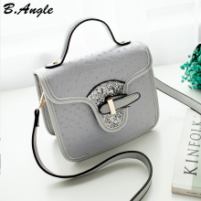 High quality ostrich bling bling flap bag messenger bag women bag shoulder bag tote(China)