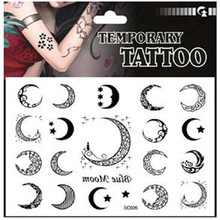 2015 wholesale 12 PCS / Bag creative Moon pattern temporary tattoo sticker nontoxic waterproof tattoo sticker for female