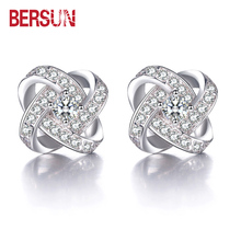 Bersun Fashion  Earrings For Women Fine Jewelry Eternal Love Heart Luxury CZ  Crystal Stud Earrings Earrings new products