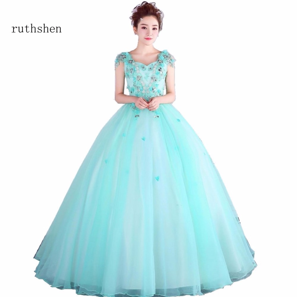 ruthshen Vestidos Anos Quinceanera 2018 Sweet 16 Dresses Sweetheart 100% Real Photo Cheap Appliques Beadings Quinceanera Gowns
