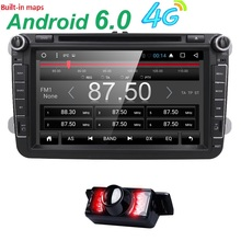 2din 4G Android 6.0 car stereo radio for vw passat golf Quad Core 8 inch 1024*600 car DVD GPS navigation OBD DVR include can bus