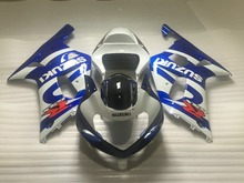 Custom Fairing kit for SUZUKI GSXR600 750 01 02 03 GSXR 600 GSXR750 K1 2003 2001 2002 white blue ABS Fairings set+7gifts PM34