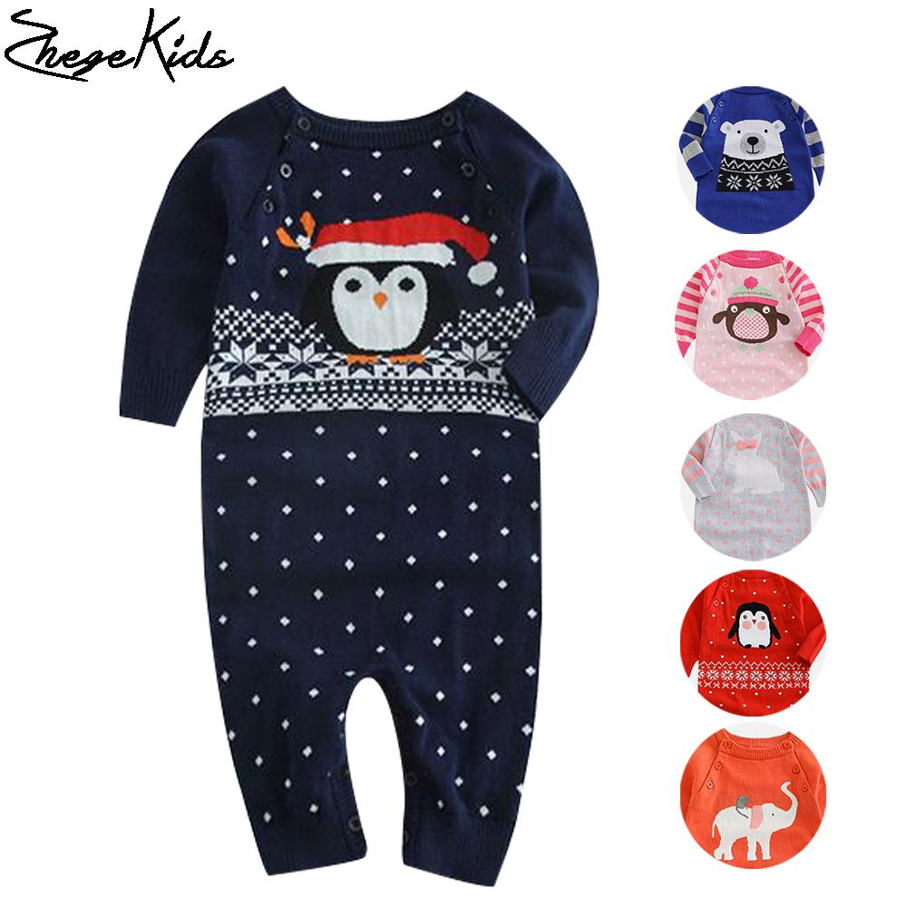 Cartoon Pattern Baby Rompers Newborn Boys Girls Warm Romper Knitted Infant Clothes 2017 New Fashion Baby Costume Sweater Outwear<br><br>Aliexpress