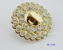 Free shipping bag lock (10 pieces/lot) high-end handbags hardware accessories diy golden diamond crystal flower shaped lock