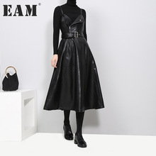 Buy EAM 2017 new autumn winter solid color strapless black PU leather high waist belt zipper loose dress women fashion tide JD032 for $26.10 in AliExpress store