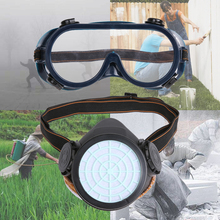 Single Tank 2pcs Dust Mask with Eye  Breathe easier Gas mask protective dust paint chemical activated carbon  (PVC TPR)