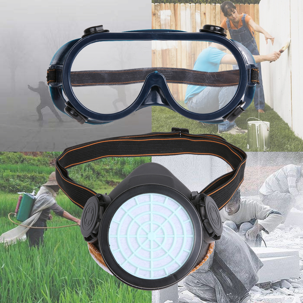 Single Tank 2pcs Dust Mask with Eye Breathe easier Gas mask protective dust paint chemical activated carbon (PVC TPR)(China)