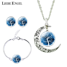 LIEBE ENGEL Silver Color Jewelry Set Moon Glass Necklace Stud Earrings Bracelet Bangle Jewelry Sets for Women Men Christmas Gift(China)
