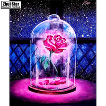 "5D DIY Diamond Embroidered Acupuncture Cross Stitch ""Pink rose"" Diamond Art Wall Photo Christmas Decorative Gift(China)"