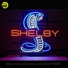 Shelby Snake Neon Sign Decorate Real Glass Tube Cool Neon Bulbs Recreation Room Garage Indoor Frame Sign Store Display VD 17x14(China)