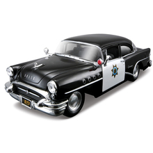 Boy toys 1/24 die-cast 1955 Buick New Century Police Car Alloy vehicle Model Car Toy metal Collection Gift for children