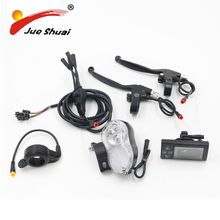 DIY 5 Parts Electric Bike Conversion Kit With Design LED Display Waterproof Wire Brake Lever Front Light Hall Sensor Throttle(China)