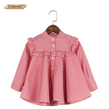 2017 Princess Girls Striped Shirts Ruched Kids Blouse New Style Children Clothing Spring Casual Infant Costumes 3-8 Years