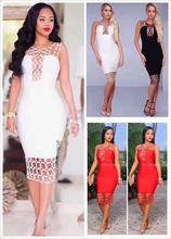 Hot Sell 9 Colors High Quality Celebrity Fashion Hollow Out Rayon Bandage Dress Cocktail Party Cute Dresses
