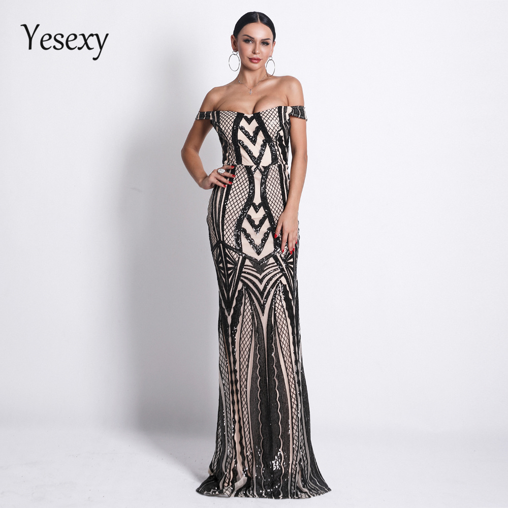 Yesexy 2019 Sexy One Shoulder Sleeveless Sequin Dresses Female Elegant Retro geometry Party Bodycon Dress VR18622