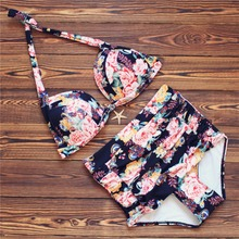 Buy 2018 Retro Sexy Halter Floral Biquini Swim Bathing Suit Pin Swimsuit Plus Size Swimwear Women High Waisted Push Bikini