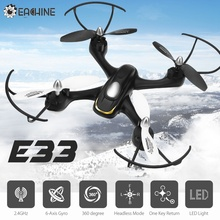 Hot Sale! Eachine E33 2.4G 6CH 6-Axis Gyro With Headless Mode LED Light RC Drone Mini Quadcopter Helicopter Toy RTF
