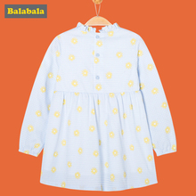 balabala Girl Dress 2018 100% cotton Casual toddler children spring Clothes breathable soft Long Sleeve Dresses for girls(China)