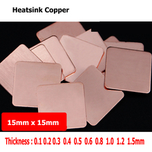 5pcs/set 15mm*15mm 0.2-1.2mm Practical Laptop CPU Processor Cooling Heatsink Copper Shim Thermal Pads for Laptop IC Chipset GPU (China)