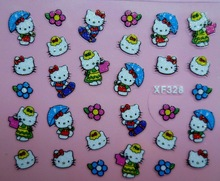 Mix Order: $0.7 XF328 Free Shipping Brand 3D Design Tip Nail Art Hello Kitty Nail Stickers Decals Carving Nail Art Decorations