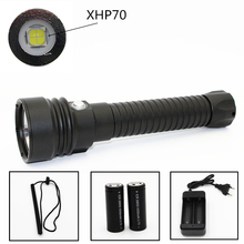 2017 New LED Diving Flashlight 5000lm Underwater Waterproof 100M CREE XHP70 LED SCUBA Torch support 26650