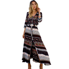 Buy 2017 Summer New Bohemian Printing Long Dress Women Maxi Beach Dress Floral Print Retro Hippie Women Clothing Dress for $17.45 in AliExpress store