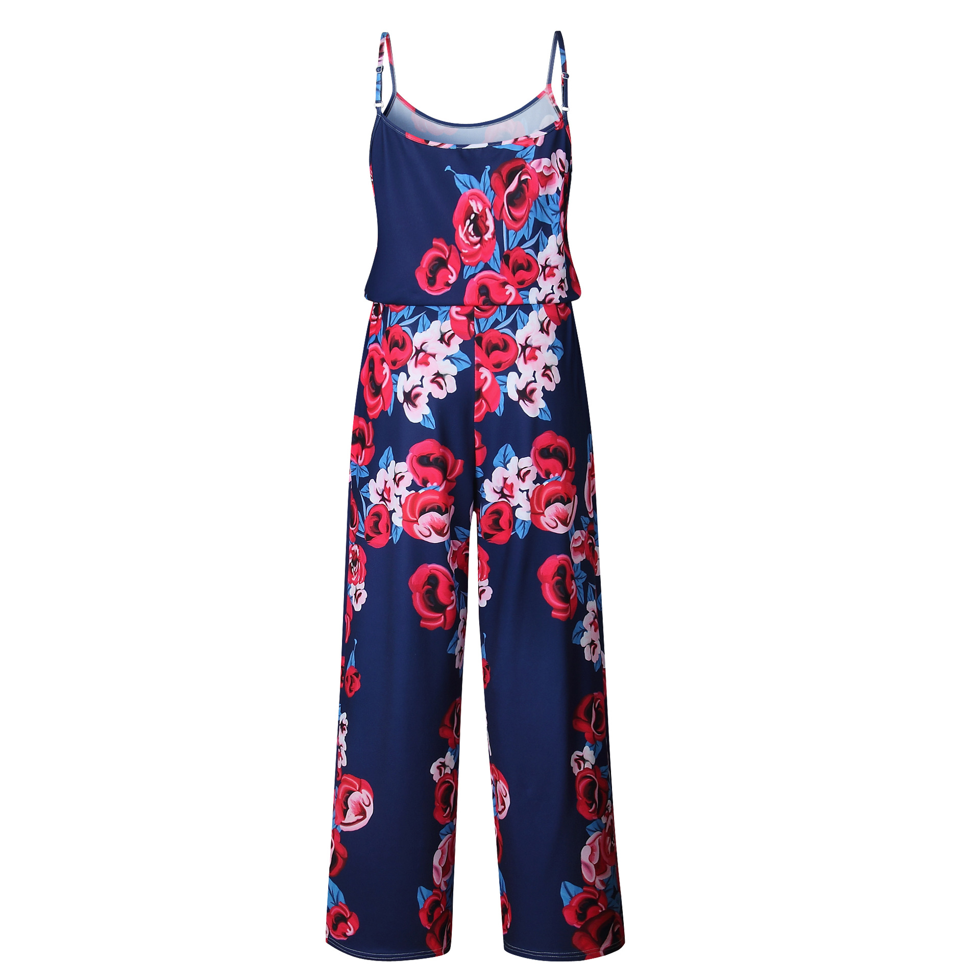 Spaghetti Strap Jumpsuit Women 2018 Summer Long Pants Floral Print Rompers Beach Casual Jumpsuits Sleeveless Sashes Playsuits 50