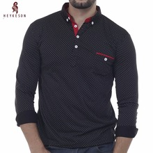HEYKESON Mens Polo Shirt Brands 2017 Male Long Sleeve Fashion Casual Slim Polka Dot Pocket Button Polos