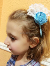 Retail 1pcs girls headband satin rose flower rolled witn Button lace flower for hair accessories LMA01(China)