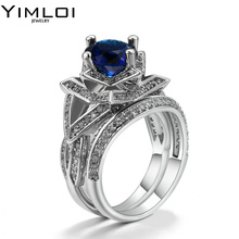 Luxury CZ Solitaire Ring Engagement Wedding Band Fashion Jewelry for Men Women Classic Noble Rings Party RB699(China)