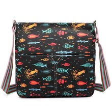 2016 Ladies girl cute fish print shoulder bag A4 notebook messenger bags canvas bags satchel school bags 5 kinds of color(China)