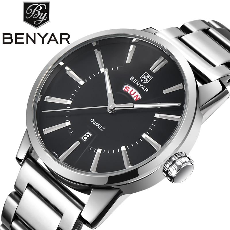 Luxury Brand BENYAR Mens Watches Stainless Steel Fashion Casual Watch Men Waterproof Quartz-watch Clock Relogio Masculino 2016<br>
