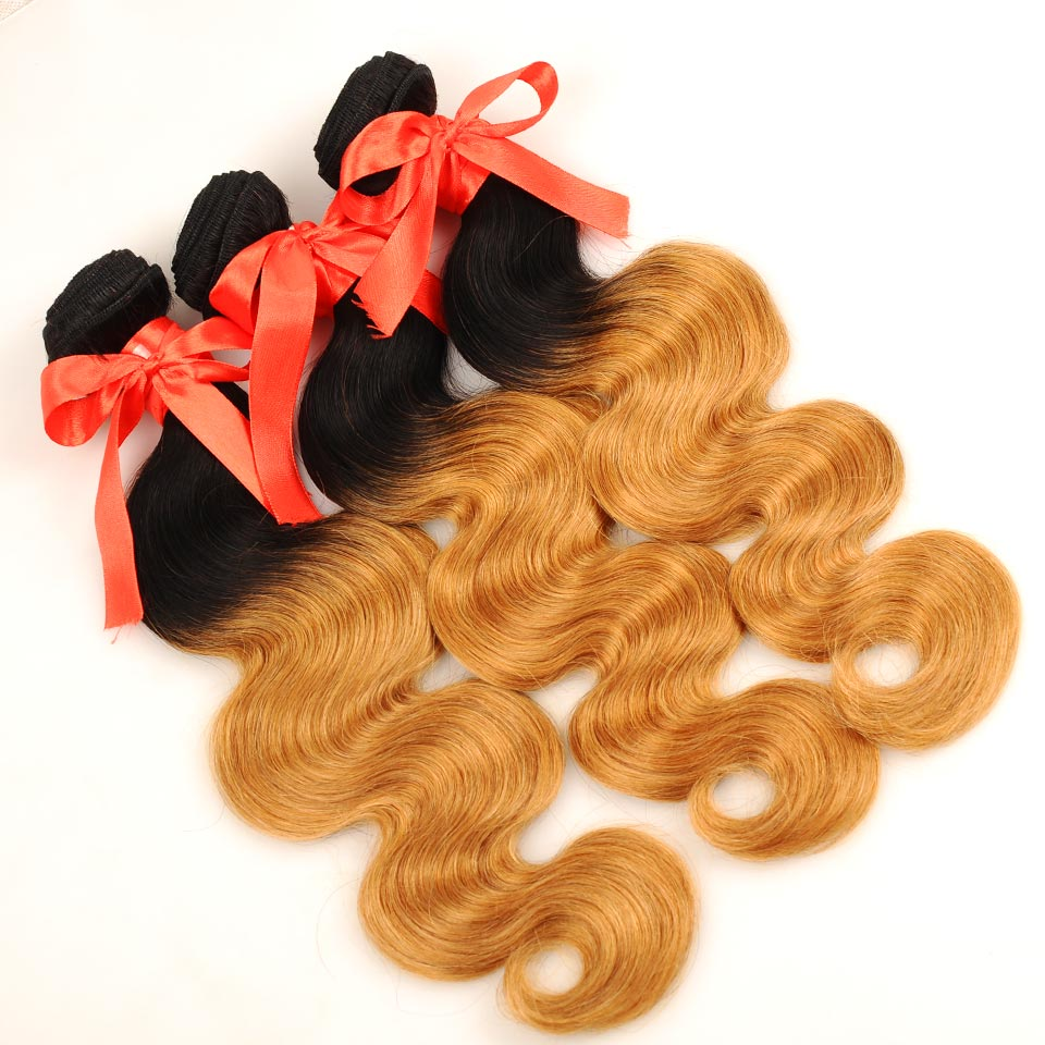 Pinshair Pre-Colored Brazilian Hair Weave Bundles With Closure Ombre T1B 27 Body Wave 3 Bundles With Closure Human Hair Non Remy (5)