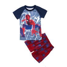 Boys Navy Spiderman Summer Clothing set for age 2 3 4 5 6 7 years Children Pullover Shorts 2 Pcs Toddler Baby Boy Cool Clothes