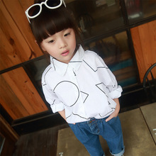 Fashion children girl 2-7 years white blouse long sleeve baby girl bat wing sleeve cotton shirt  autumn style turn down collar