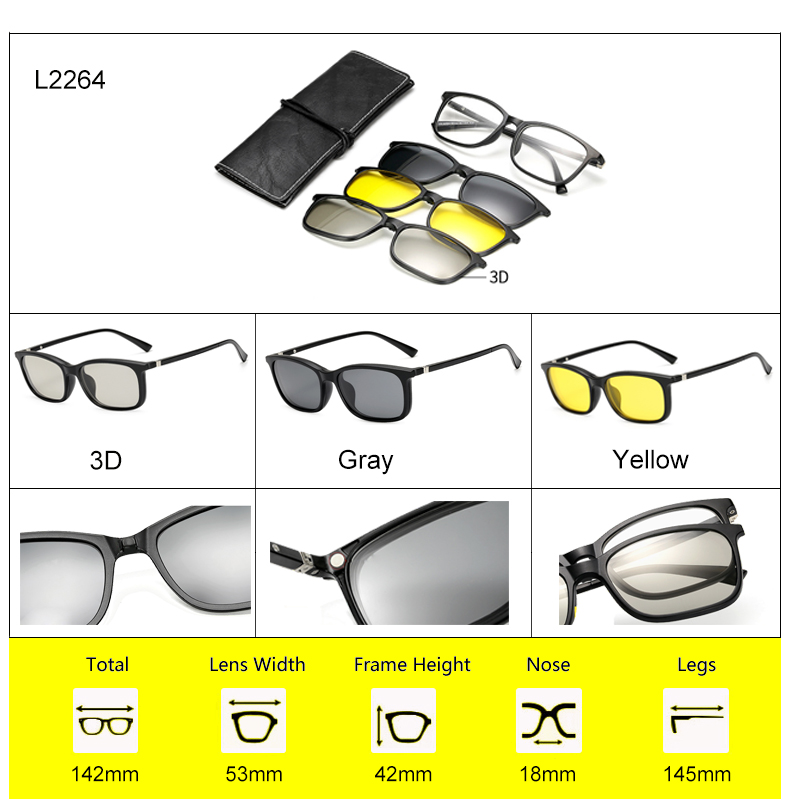 Ralferty 2018 Multi-Function Magnetic Polarized Clip On Sunglasses Men Women Ultra-Light TR90 3D Yellow Night Vision Glasses 11