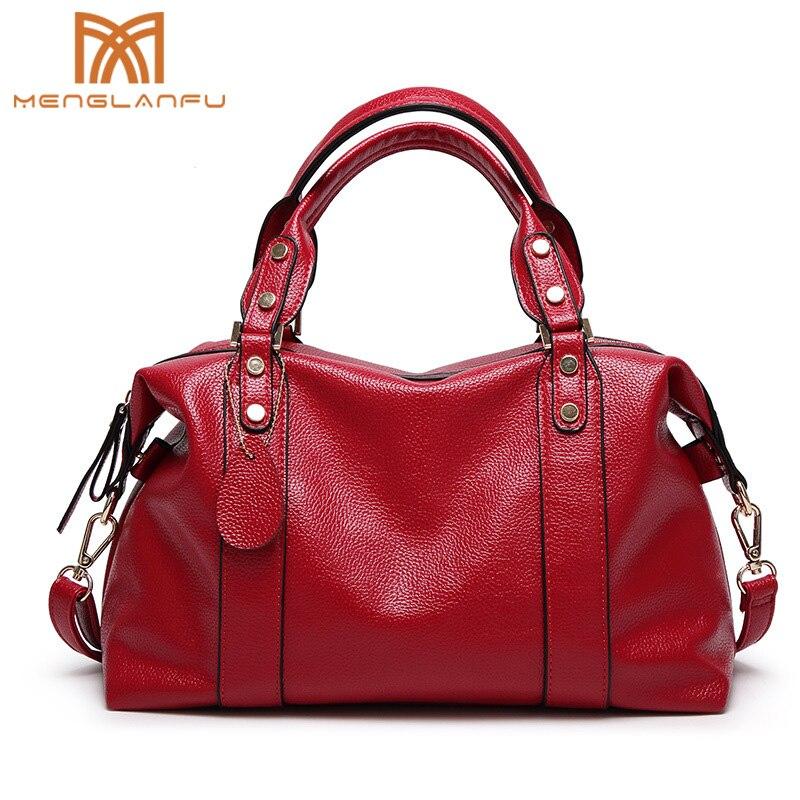 Women Casual Boston bag Female Leather Handbags shoulder bag Fashion lady Large Messenger Bag Designer Totes for Girls Black/Red<br>
