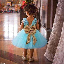 V collar Sequined Big bowknot Little Girl Party dresses 2017 New High Quality White and Pink and blue Cotton Baby Princess Dress