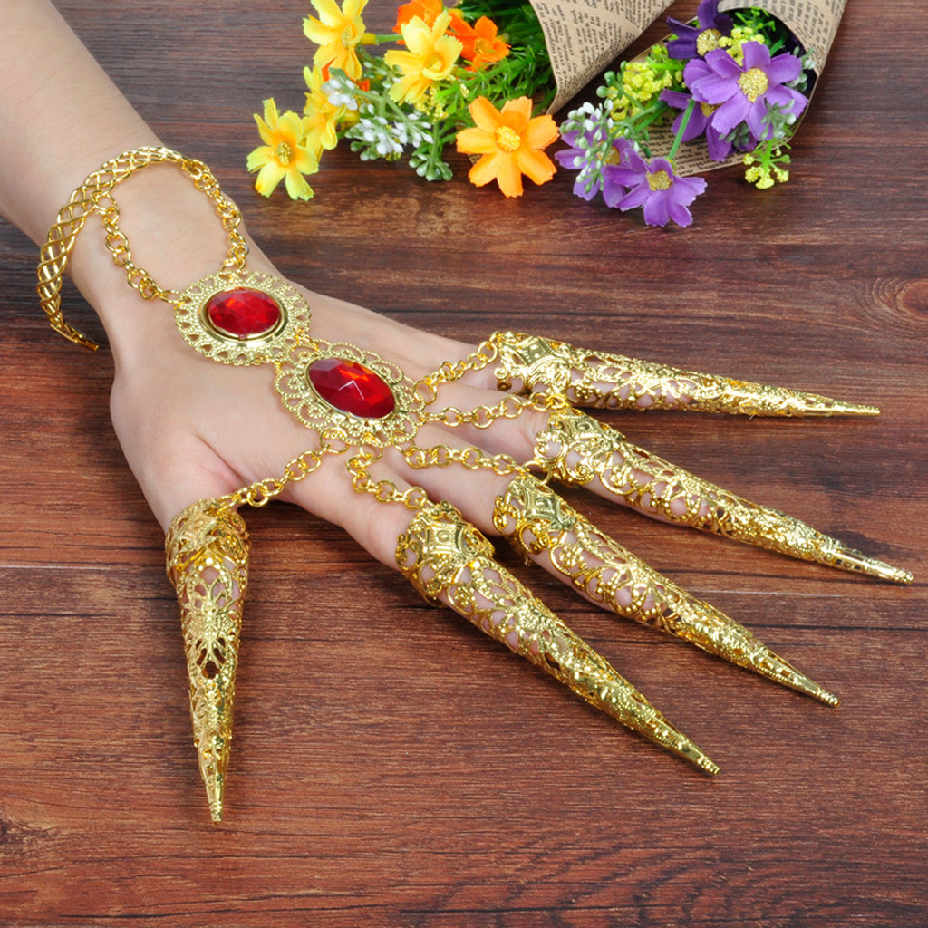 Women Fashion Ethnic Finger Nail Deecor Jewelry for Thai Dance Belly Dance Gold