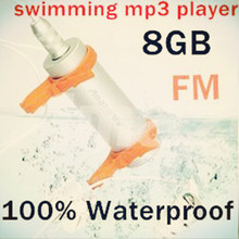 Newest Hot 8GB water resistance IPX8 mp3 Waterproof sport MP3 Player Water proof MP3 Headphones+FM Radio with 1pcs(China)