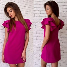 Awedrui Women Summer Sexy Backless Beach Casual dress Fashion Petal sleeve O-Neck Red Green Party Mini dress Vestidos