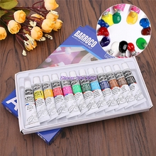 12PCS/lot Colors 6ML Professional Acrylic Paints Set Hand Wall Textile Painting Brush MAR24_30
