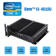 Hystou FMP04B Fanless Mini Computer Intel Haswell Core i3-4010U 4GB/128GB Dual Giga Lan Dual HDMI 6*COM and 8*USB ports EU Plug(China)