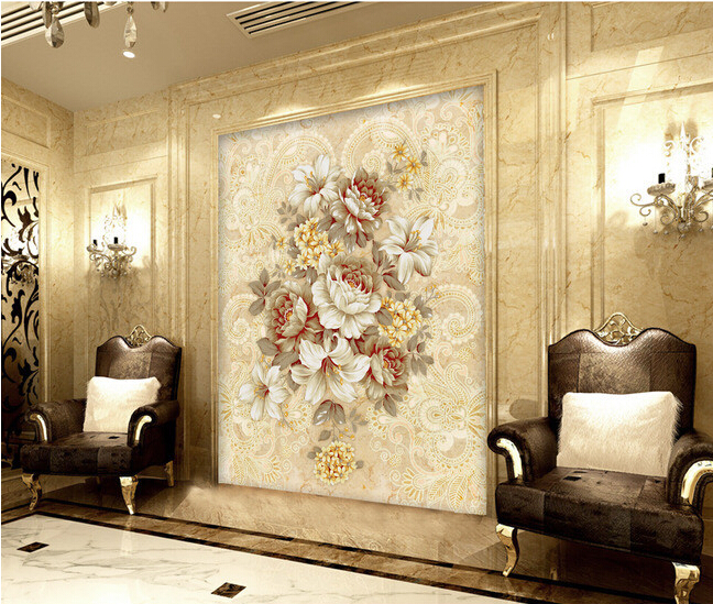 Custom retro wallpaper,Bohemia style marble grain and flowers for the living room bedroom background wall waterproof wallpaper<br><br>Aliexpress