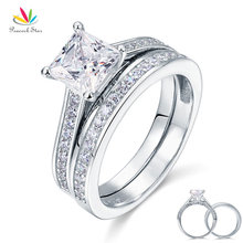 Peacock Star 1.5 Ct Princess Cut Solid 925 Sterling Silver 2-Pcs Wedding Promise Engagement Ring Set CFR8009S(Hong Kong)