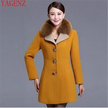 YAGNZ Large size Women clothing Han edition Autumn and winter New Cashmere coat Fashion Fox collars Temperament Wool coat KG499(China)