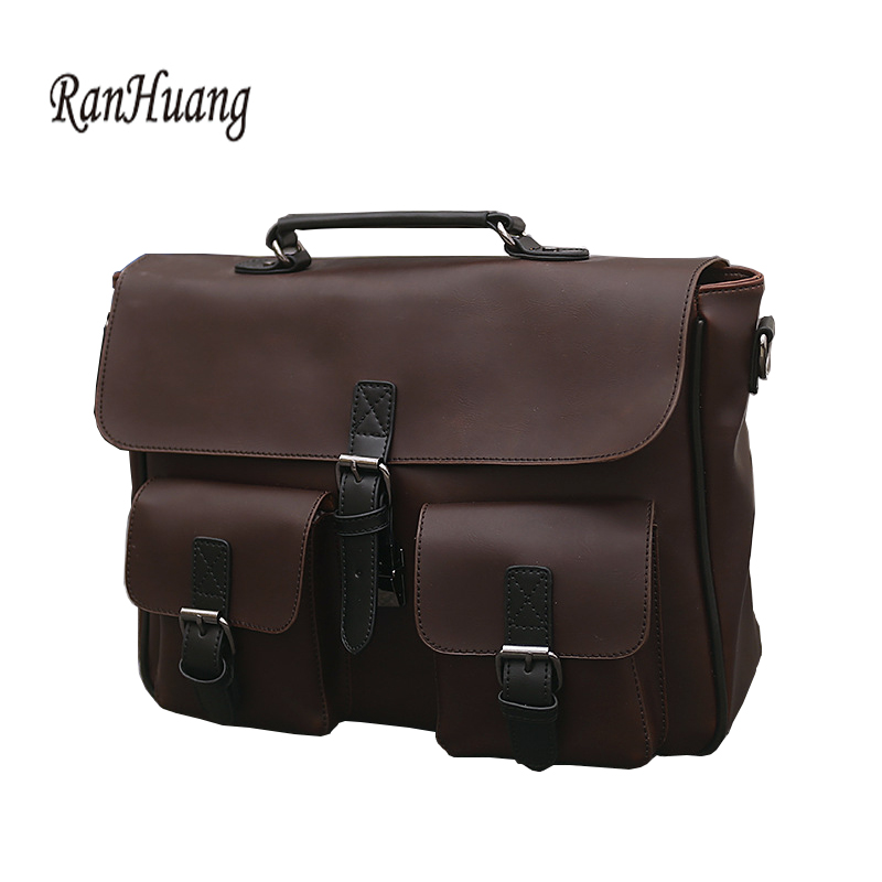 RanHuang New Arrive 2017 Men Large Handbags High Quality Crazy Horse Leather Handbags Mens Fashion Shoulder Bags Laptop Bags<br>