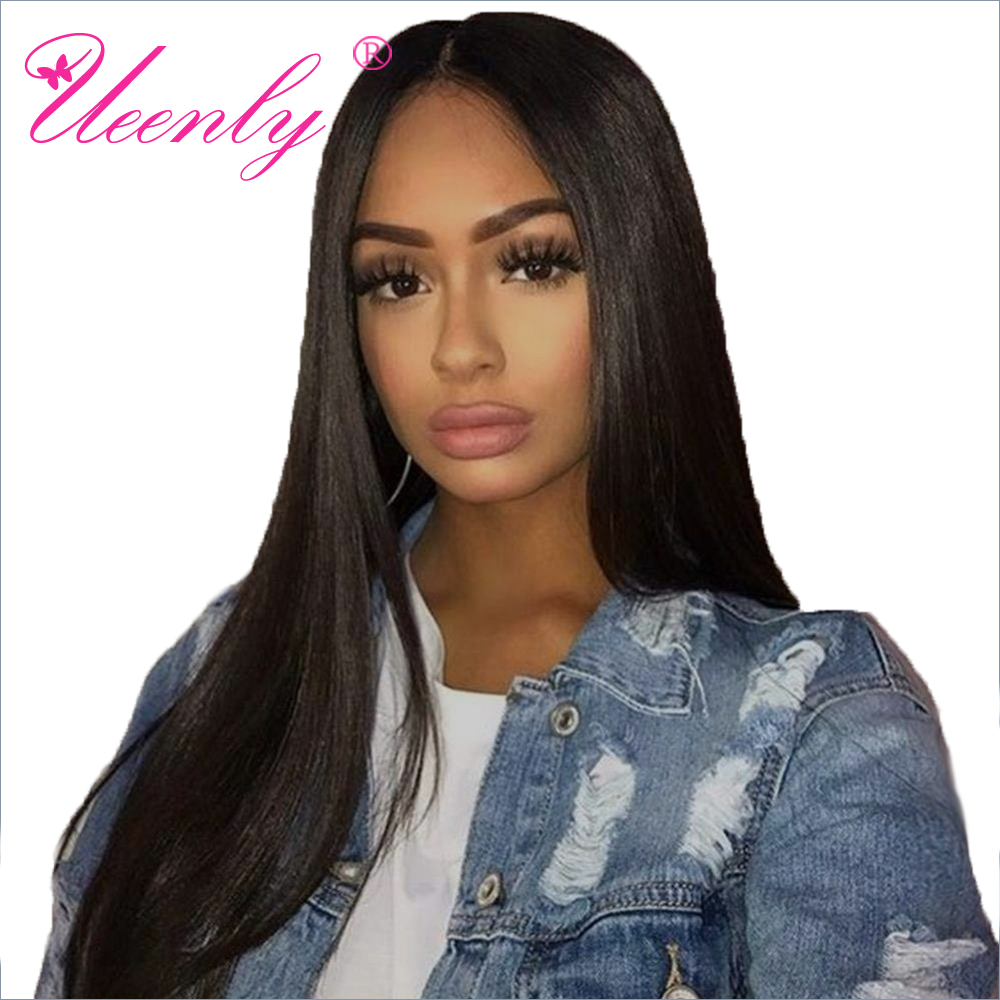 13x4 Lace Front Human Hair Wigs Pre Plucked For Black Women Remy Brazilian Straight Lace Front Wig With Baby Hair Bleached Knots(China)